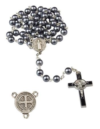Różaniec z medalikiem i krzyżem św. Benedykta - ciemny : Dewocjonalia