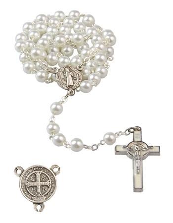 Różaniec z medalikiem i krzyżem św. Benedykta - jasny : Dewocjonalia