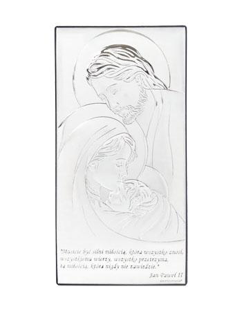 Obrazek Święta Rodzina. Z cytatem św. Jana Pawła II - pokryty srebrem : Dewocjonalia