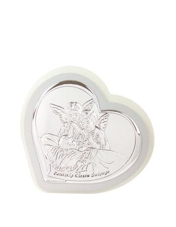 Obrazek Anioły nad dzieckiem. Pamiątka Chrztu Świętego - pokryty srebrem : Dewocjonalia