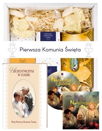 Czekoladowy zestaw upominkowy dla dzieci + Pamiątka Komunii św. + film DVD