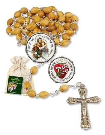 Różaniec ku czci św. Józefa. Pamiątka Roku Świętego w woreczku jutowym : Dewocjonalia