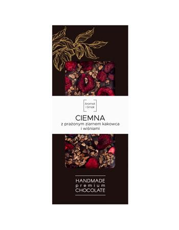 Czekolada ciemna z prażonym ziarnem kakaowca i wiśniami, belgijska, premium - Aromat i Smak