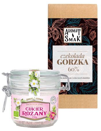 Słodki duet: Ekologiczny cukier różany + Czekolada gorzka