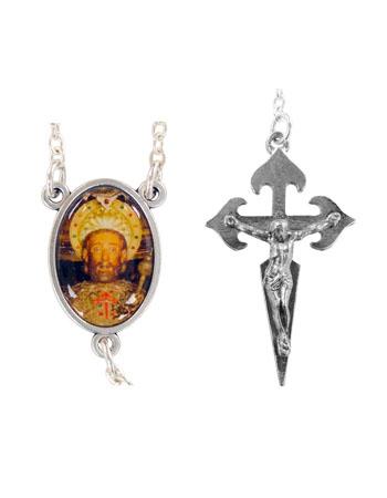 Różaniec św. Jakuba z jaspisu - łącznik i krzyżyk