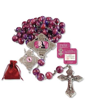 Różaniec ku czci św. Rity z Cascii z pobłogosławioną różą
